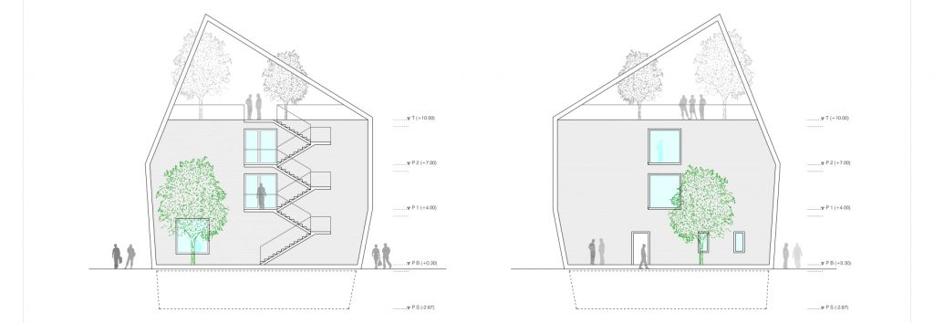 idoia otegui iotegui arquitectura residencia tercera edad alzado transversal