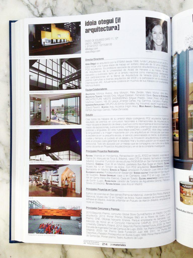 idoia otegui i! arquitectura publicacion revista promateriales guia estudios españa 2017-2018 2