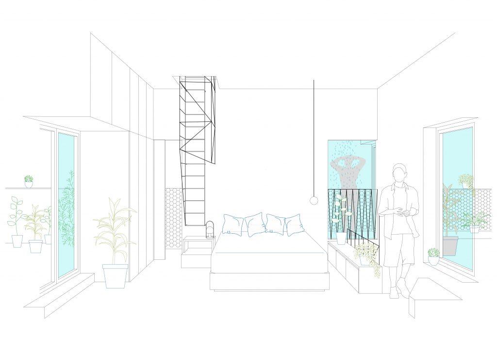idoiaotegui-iotegui-arquitectura-reforma-vivienda-rehabilitacion-cupula-dome-santa-engracia-madrid dormitorio