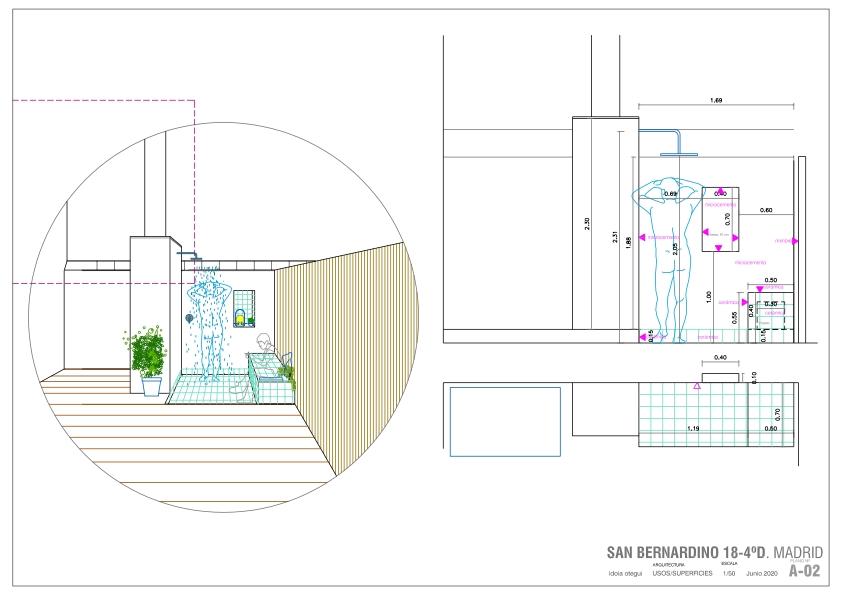 idoia otegui arquitectura terraza atico ducha exterior reforma rehabilitacion san bernardino madrid 5