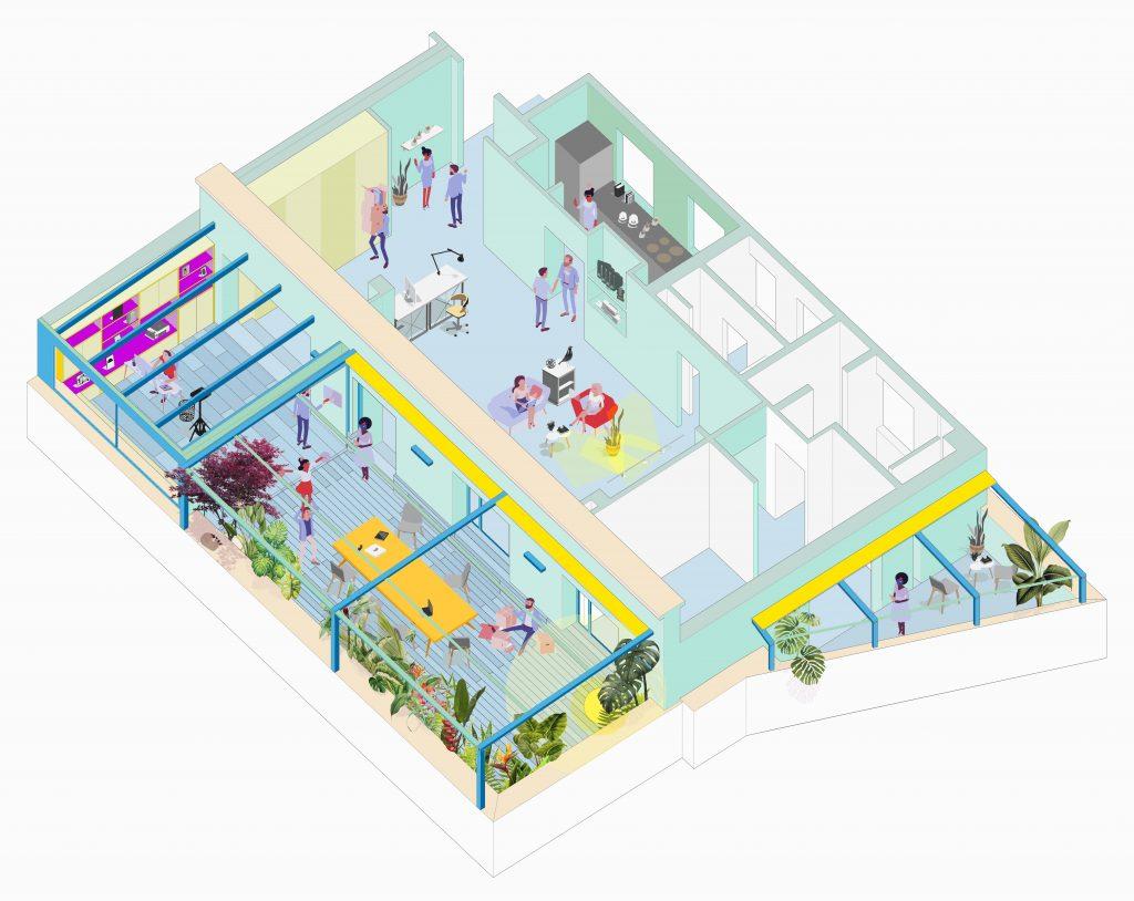 idoia otegui arquitectura ático francisco silvela reforma rehabilitación terraza axonometrica